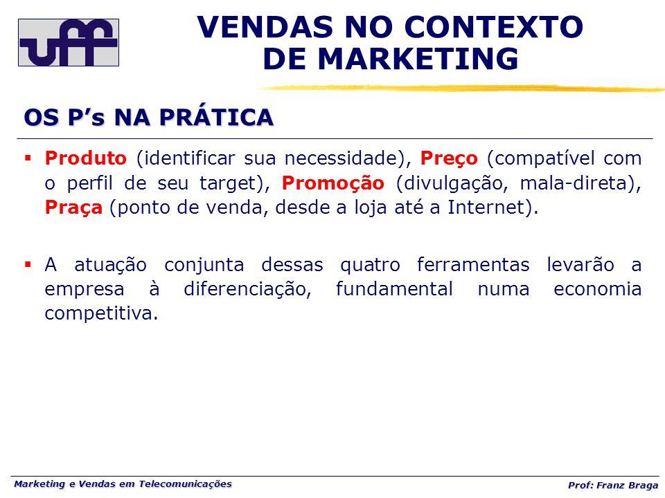 Marketing e Vendas em Telecomunicações Prof: Franz Braga OS P's NA PRÁTICA VENDAS NO CONTEXTO DE MARKETING  Produto (identificar sua necessidade), Pr