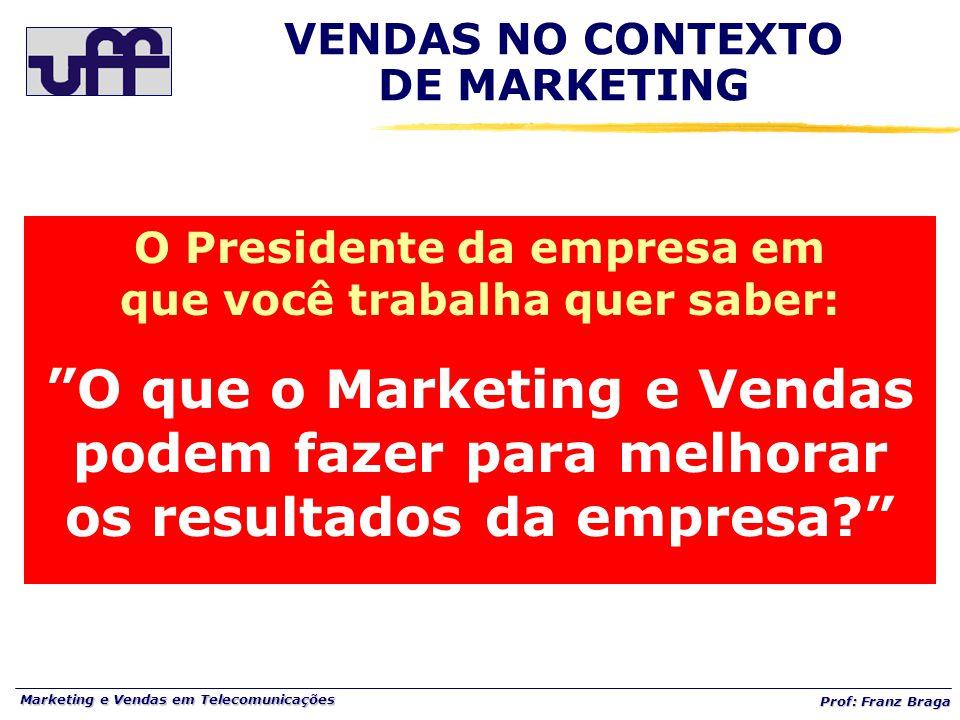 """Marketing e Vendas em Telecomunicações Prof: Franz Braga VENDAS NO CONTEXTO DE MARKETING O Presidente da empresa em que você trabalha quer saber: """"O q"""