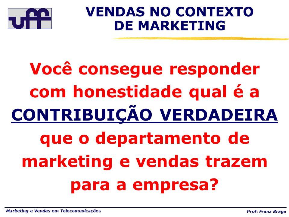 Marketing e Vendas em Telecomunicações Prof: Franz Braga VENDAS NO CONTEXTO DE MARKETING Você consegue responder com honestidade qual é a CONTRIBUIÇÃO