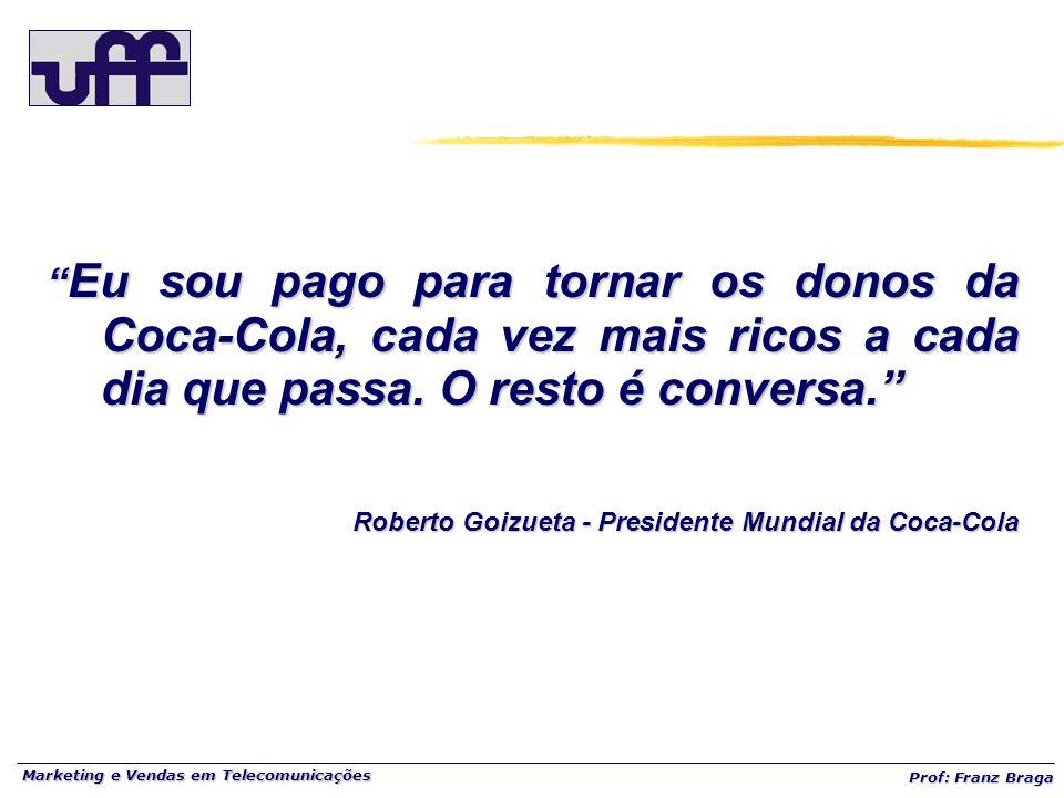 Marketing e Vendas em Telecomunicações Prof: Franz Braga Eu sou pago para tornar os donos da Coca-Cola, cada vez mais ricos a cada dia que passa.