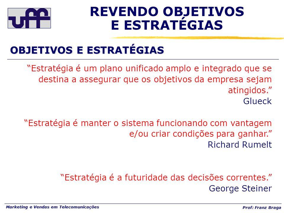 """Marketing e Vendas em Telecomunicações Prof: Franz Braga """"Estratégia é um plano unificado amplo e integrado que se destina a assegurar que os objetivo"""