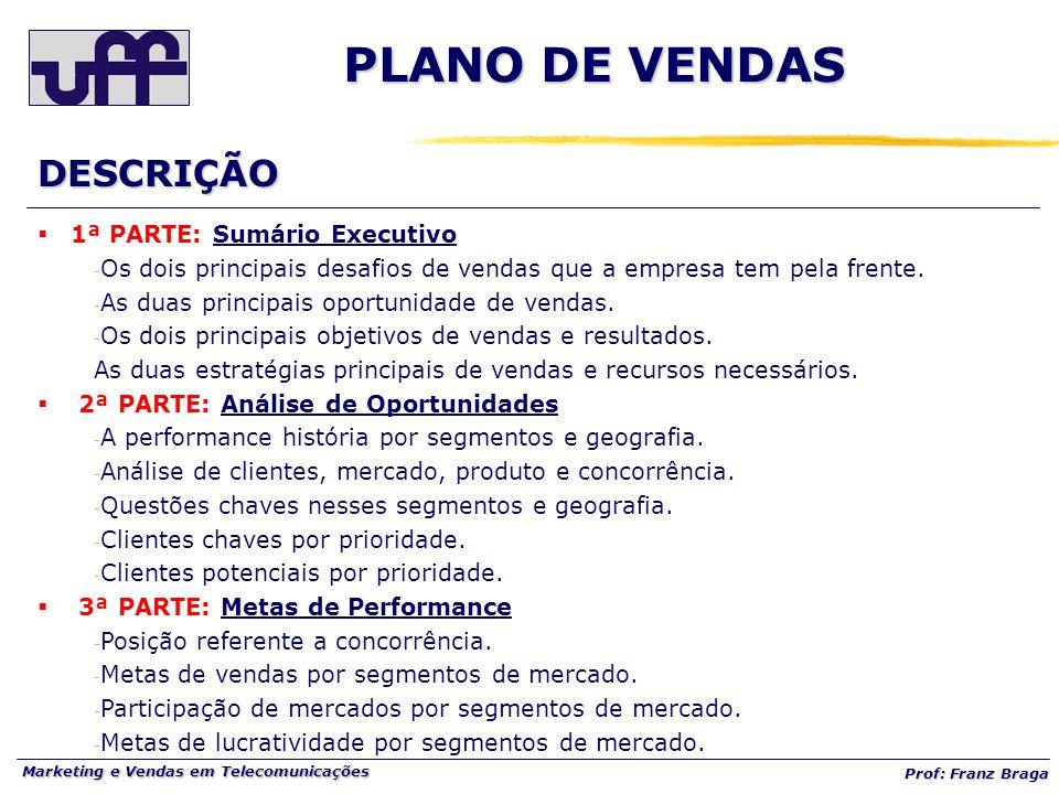 Marketing e Vendas em Telecomunicações Prof: Franz Braga DESCRIÇÃO  1ª PARTE: Sumário Executivo - Os dois principais desafios de vendas que a empresa