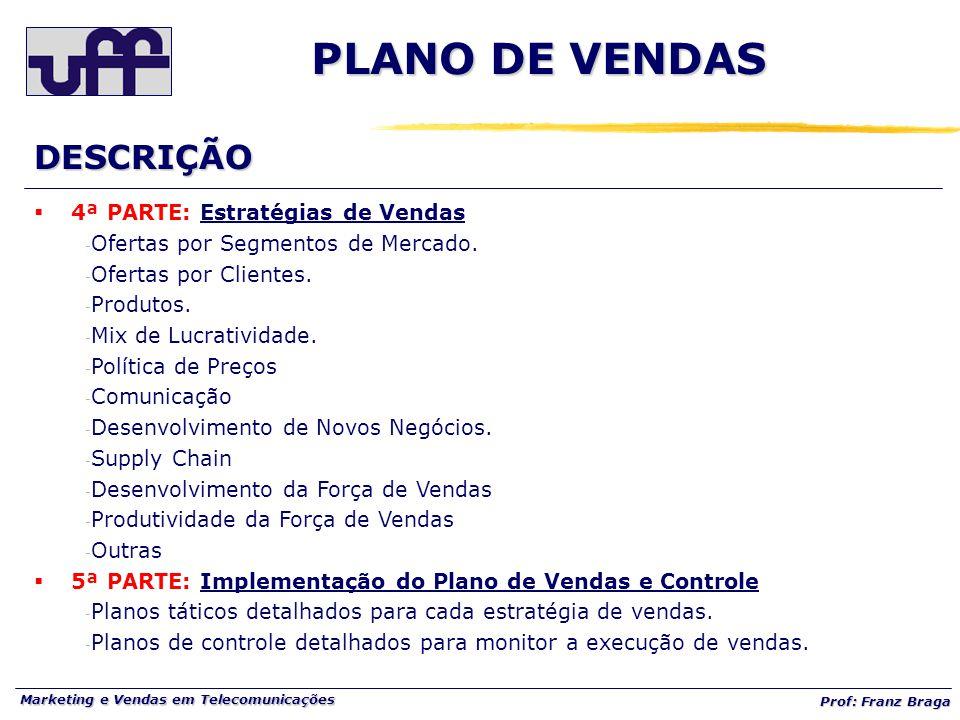 Marketing e Vendas em Telecomunicações Prof: Franz Braga  4ª PARTE: Estratégias de Vendas - Ofertas por Segmentos de Mercado. - Ofertas por Clientes.