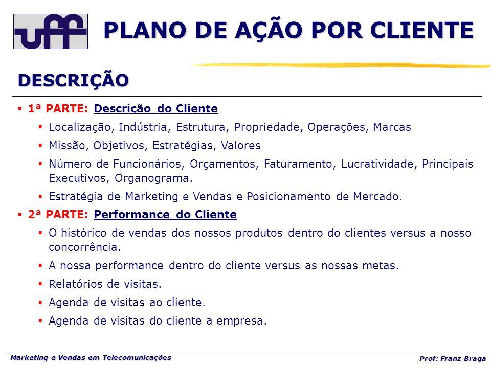Marketing e Vendas em Telecomunicações Prof: Franz Braga PLANO DE AÇÃO POR CLIENTE  1ª PARTE: Descrição do Cliente  Localização, Indústria, Estrutur