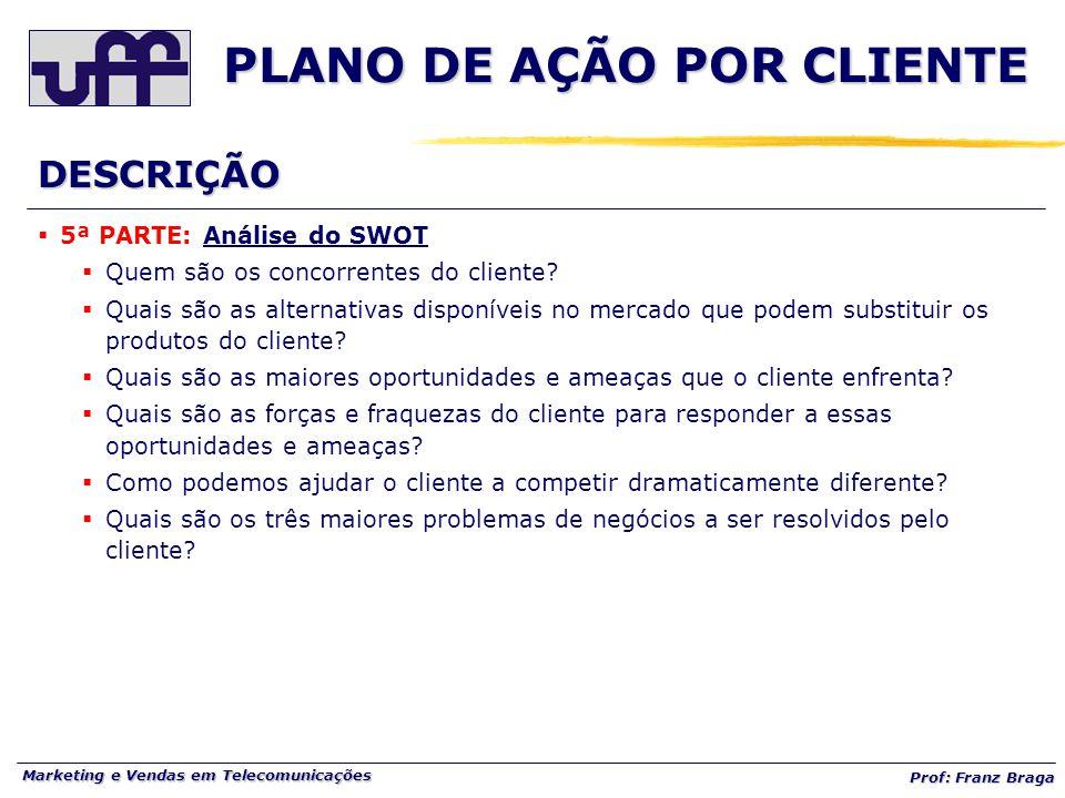 Marketing e Vendas em Telecomunicações Prof: Franz Braga PLANO DE AÇÃO POR CLIENTE  5ª PARTE: Análise do SWOT  Quem são os concorrentes do cliente.