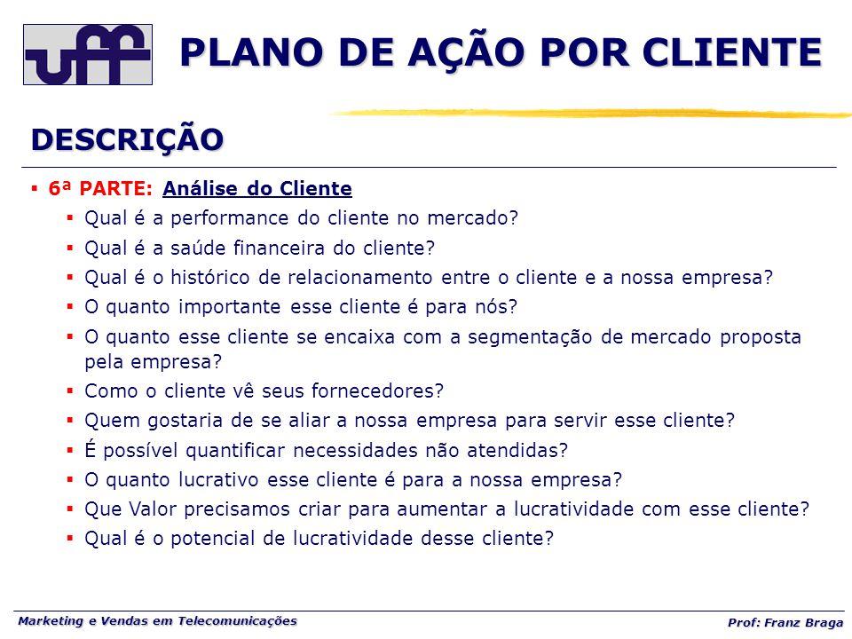 Marketing e Vendas em Telecomunicações Prof: Franz Braga PLANO DE AÇÃO POR CLIENTE  6ª PARTE: Análise do Cliente  Qual é a performance do cliente no mercado.