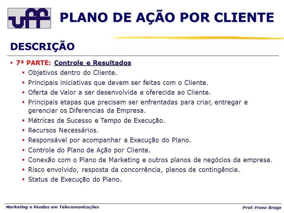 Marketing e Vendas em Telecomunicações Prof: Franz Braga PLANO DE AÇÃO POR CLIENTE  7ª PARTE: Controle e Resultados  Objetivos dentro do Cliente. 