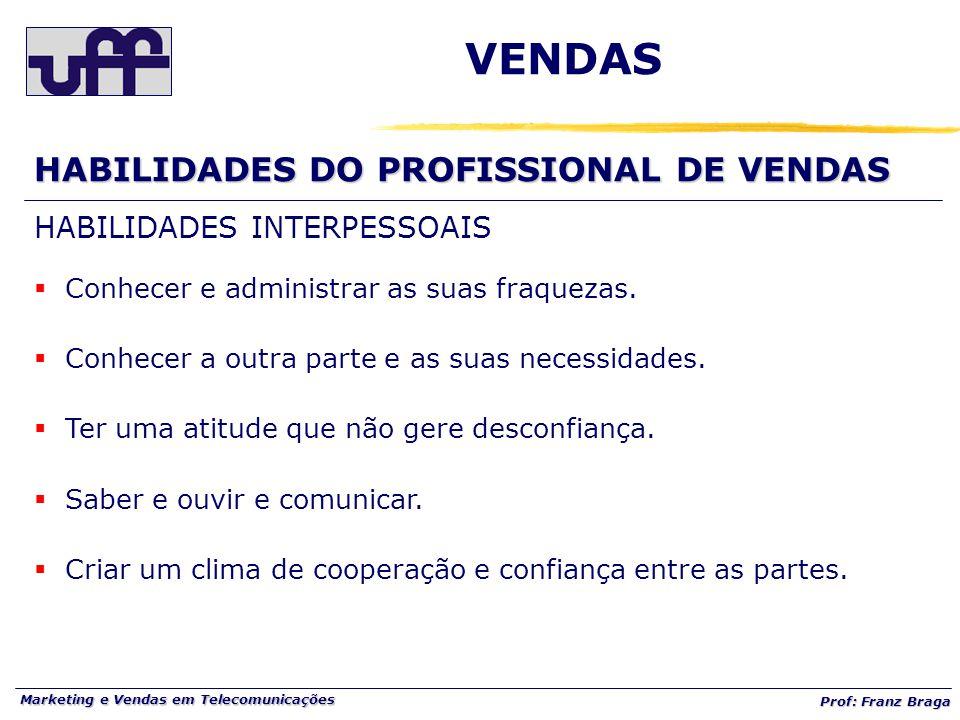 Marketing e Vendas em Telecomunicações Prof: Franz Braga VENDAS HABILIDADES DO PROFISSIONAL DE VENDAS HABILIDADES INTERPESSOAIS  Conhecer e administr