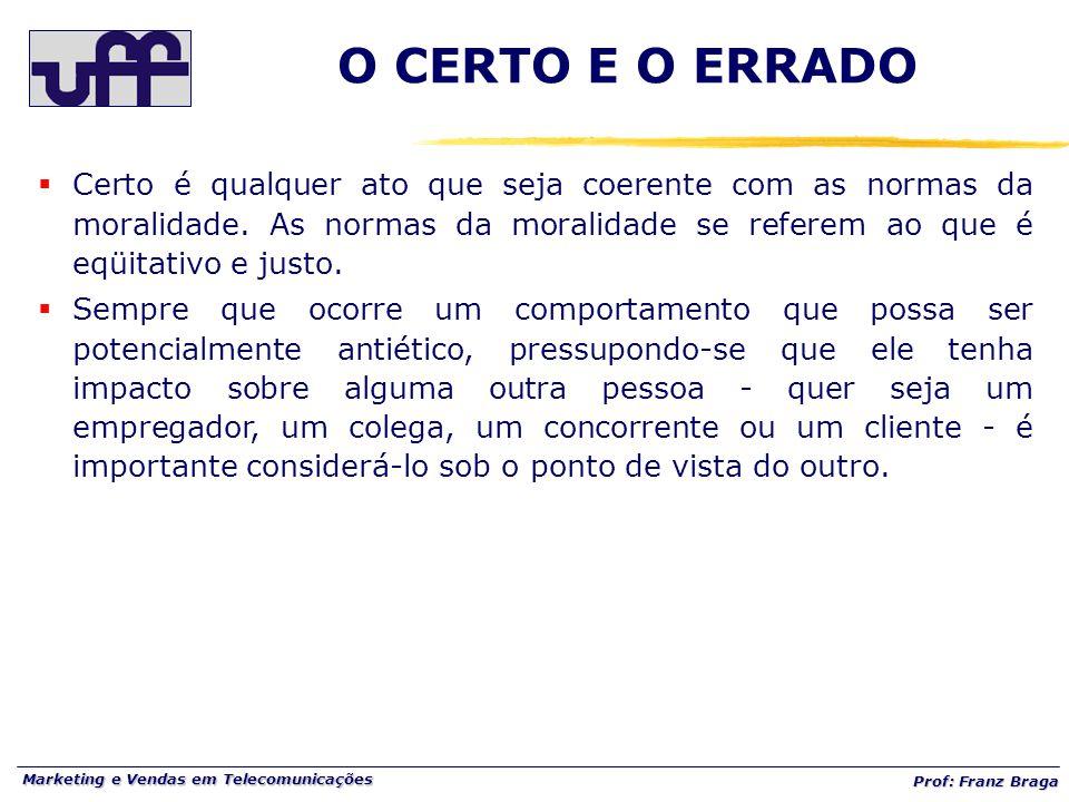 Marketing e Vendas em Telecomunicações Prof: Franz Braga O CERTO E O ERRADO  Certo é qualquer ato que seja coerente com as normas da moralidade. As n