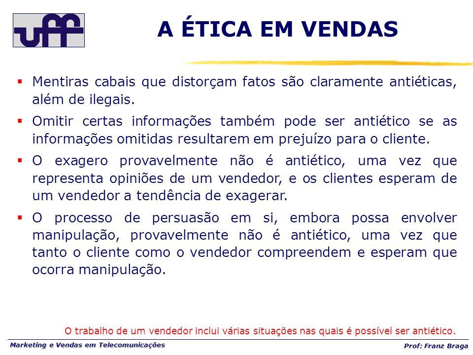 Marketing e Vendas em Telecomunicações Prof: Franz Braga A ÉTICA EM VENDAS  Mentiras cabais que distorçam fatos são claramente antiéticas, além de ilegais.