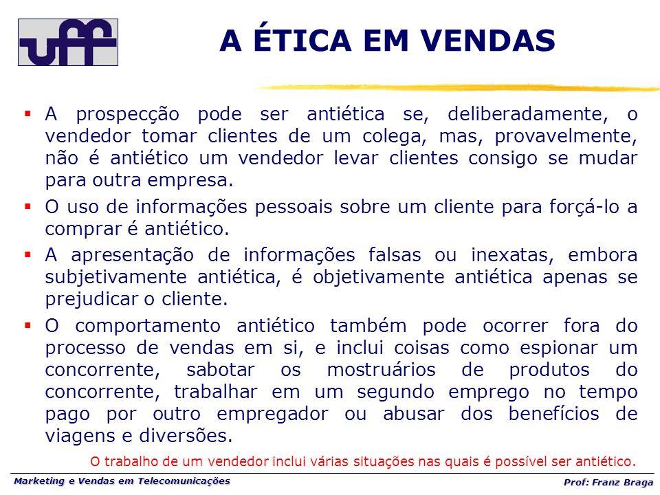 Marketing e Vendas em Telecomunicações Prof: Franz Braga A ÉTICA EM VENDAS  A prospecção pode ser antiética se, deliberadamente, o vendedor tomar cli
