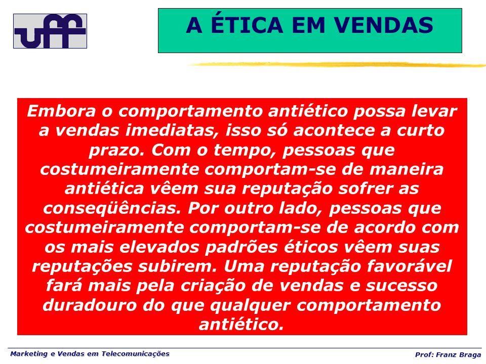 Marketing e Vendas em Telecomunicações Prof: Franz Braga Embora o comportamento antiético possa levar a vendas imediatas, isso só acontece a curto pra