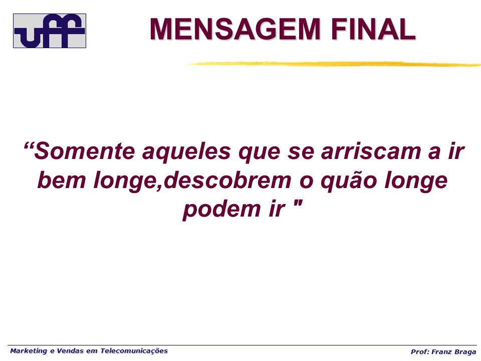 """Marketing e Vendas em Telecomunicações Prof: Franz Braga MENSAGEM FINAL """"Somente aqueles que se arriscam a ir bem longe,descobrem o quão longe podem i"""
