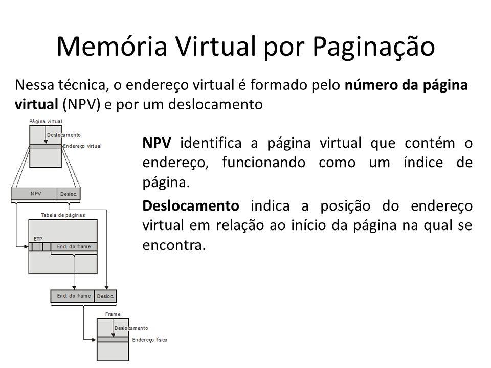 Memória Virtual por Paginação Nessa técnica, o endereço virtual é formado pelo número da página virtual (NPV) e por um deslocamento NPV identifica a p