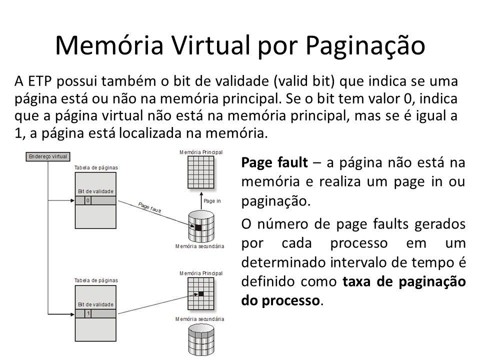 Memória Virtual por Paginação A ETP possui também o bit de validade (valid bit) que indica se uma página está ou não na memória principal. Se o bit te