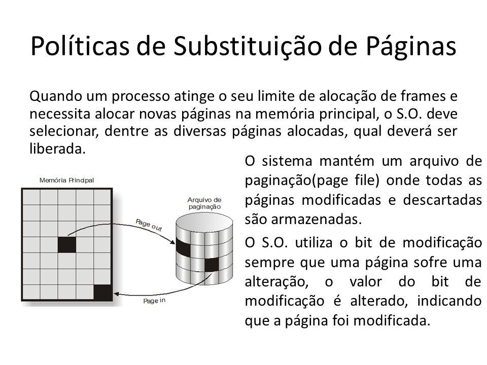 Políticas de Substituição de Páginas Quando um processo atinge o seu limite de alocação de frames e necessita alocar novas páginas na memória principa