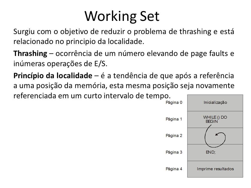 Working Set Surgiu com o objetivo de reduzir o problema de thrashing e está relacionado no principio da localidade. Thrashing – ocorrência de um númer