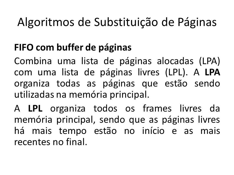 Algoritmos de Substituição de Páginas FIFO com buffer de páginas Combina uma lista de páginas alocadas (LPA) com uma lista de páginas livres (LPL). A