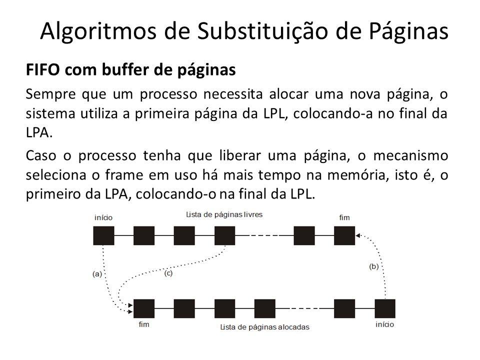 Algoritmos de Substituição de Páginas FIFO com buffer de páginas Sempre que um processo necessita alocar uma nova página, o sistema utiliza a primeira