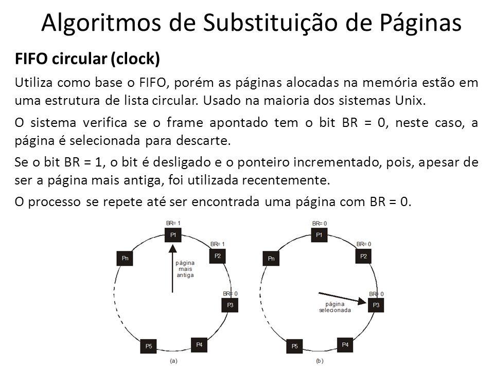 Algoritmos de Substituição de Páginas FIFO circular (clock) Utiliza como base o FIFO, porém as páginas alocadas na memória estão em uma estrutura de l