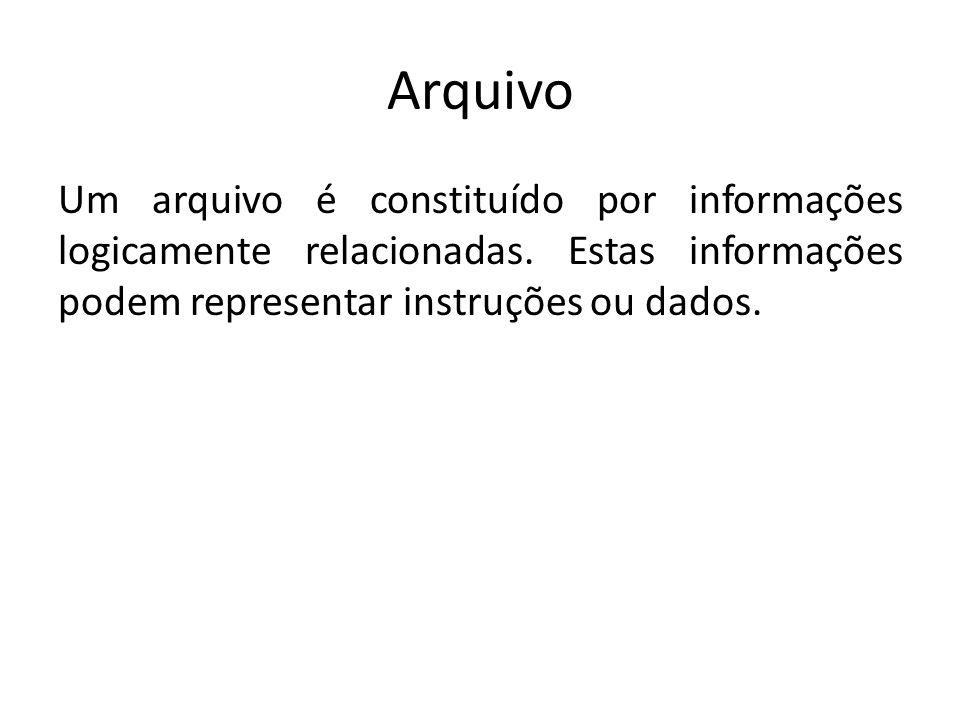 Arquivo Um arquivo é constituído por informações logicamente relacionadas. Estas informações podem representar instruções ou dados.