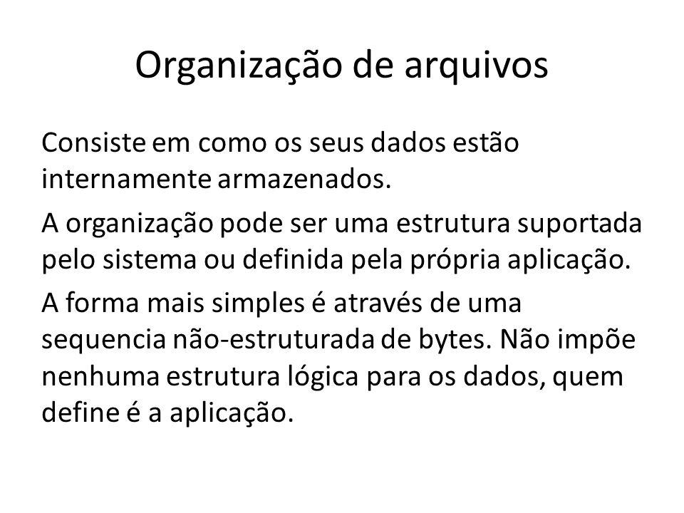 Organização de arquivos Consiste em como os seus dados estão internamente armazenados. A organização pode ser uma estrutura suportada pelo sistema ou