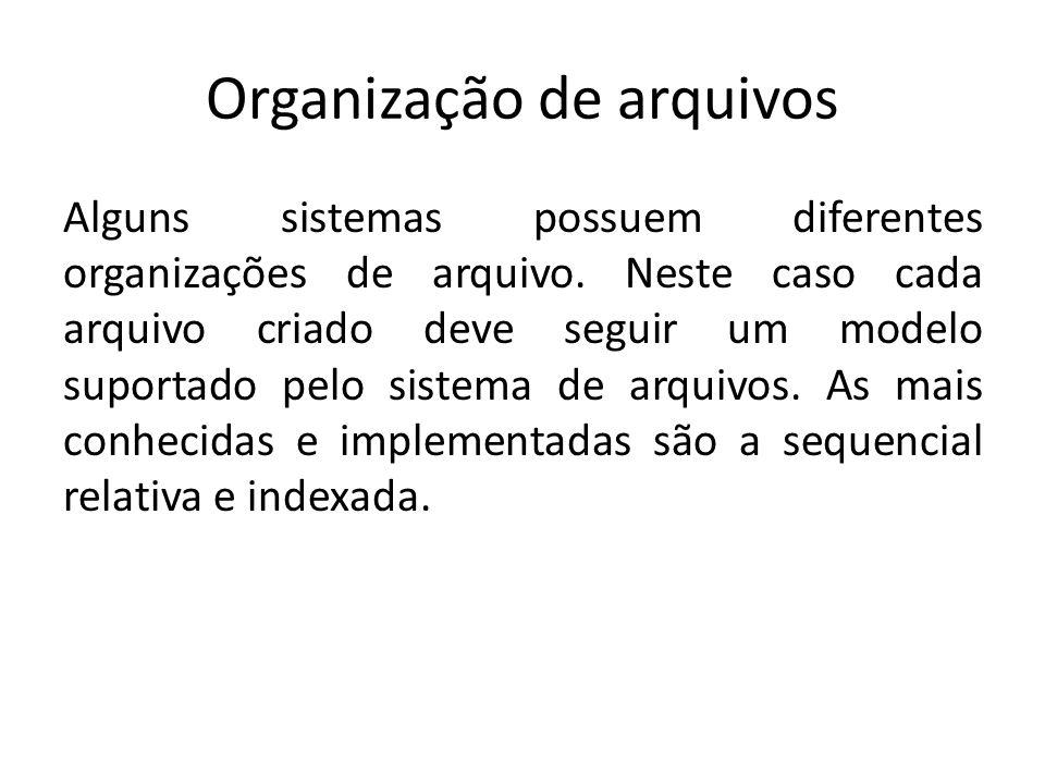 Organização de arquivos Alguns sistemas possuem diferentes organizações de arquivo. Neste caso cada arquivo criado deve seguir um modelo suportado pel