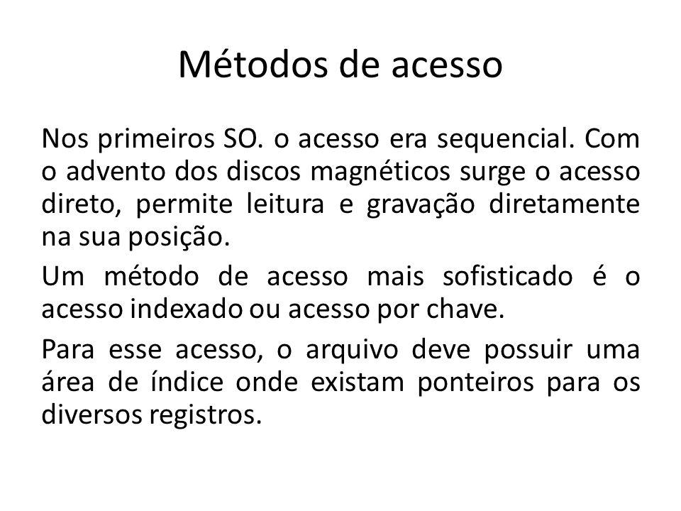 Métodos de acesso Nos primeiros SO. o acesso era sequencial. Com o advento dos discos magnéticos surge o acesso direto, permite leitura e gravação dir