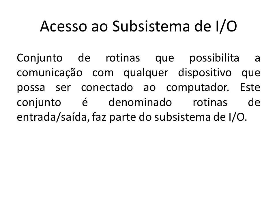Acesso ao Subsistema de I/O Conjunto de rotinas que possibilita a comunicação com qualquer dispositivo que possa ser conectado ao computador. Este con