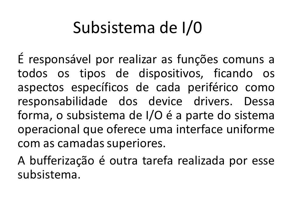 Subsistema de I/0 É responsável por realizar as funções comuns a todos os tipos de dispositivos, ficando os aspectos específicos de cada periférico co