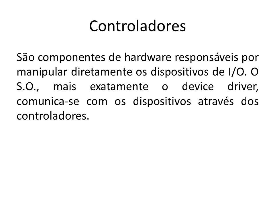 Controladores São componentes de hardware responsáveis por manipular diretamente os dispositivos de I/O. O S.O., mais exatamente o device driver, comu