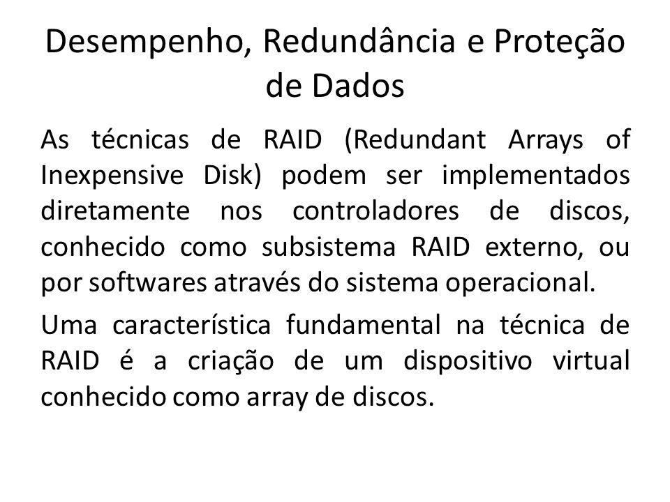 Desempenho, Redundância e Proteção de Dados As técnicas de RAID (Redundant Arrays of Inexpensive Disk) podem ser implementados diretamente nos control