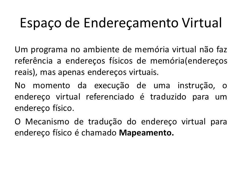 Espaço de Endereçamento Virtual Um programa no ambiente de memória virtual não faz referência a endereços físicos de memória(endereços reais), mas ape