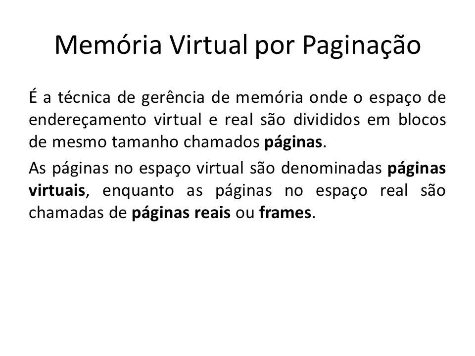 Memória Virtual por Paginação É a técnica de gerência de memória onde o espaço de endereçamento virtual e real são divididos em blocos de mesmo tamanh