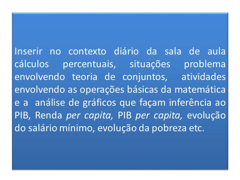Inserir no contexto diário da sala de aula cálculos percentuais, situações problema envolvendo teoria de conjuntos, atividades envolvendo as operações