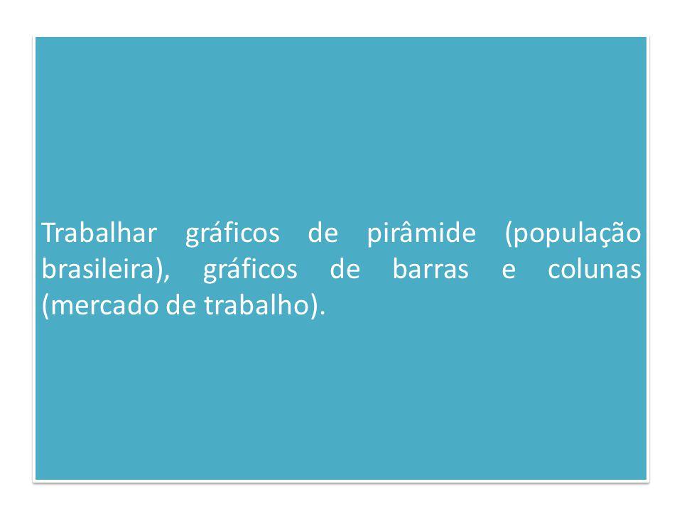 Trabalhar gráficos de pirâmide (população brasileira), gráficos de barras e colunas (mercado de trabalho).