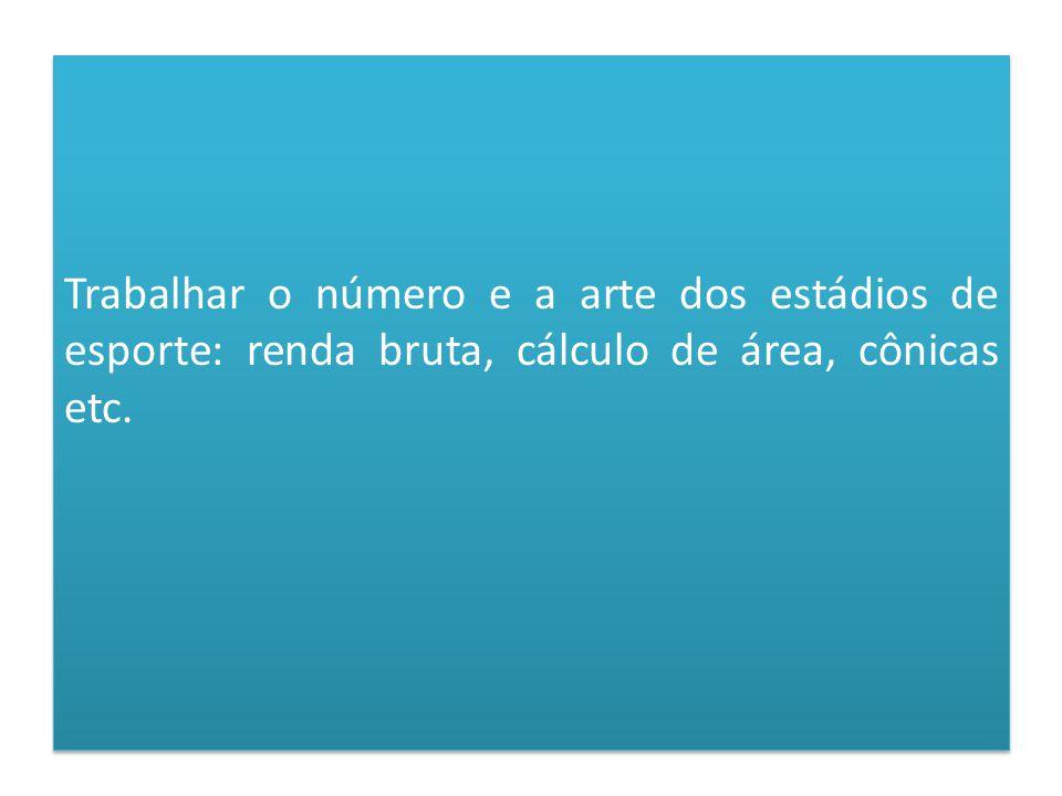 Trabalhar o número e a arte dos estádios de esporte: renda bruta, cálculo de área, cônicas etc.