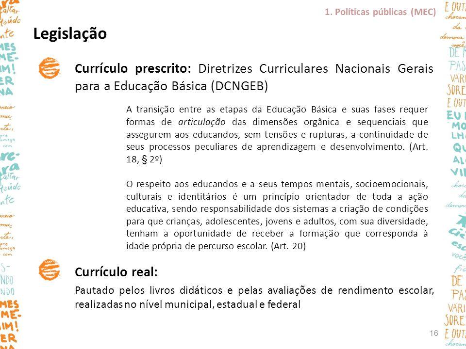 Currículo prescrito: Diretrizes Curriculares Nacionais Gerais para a Educação Básica (DCNGEB) Currículo real: Pautado pelos livros didáticos e pelas a