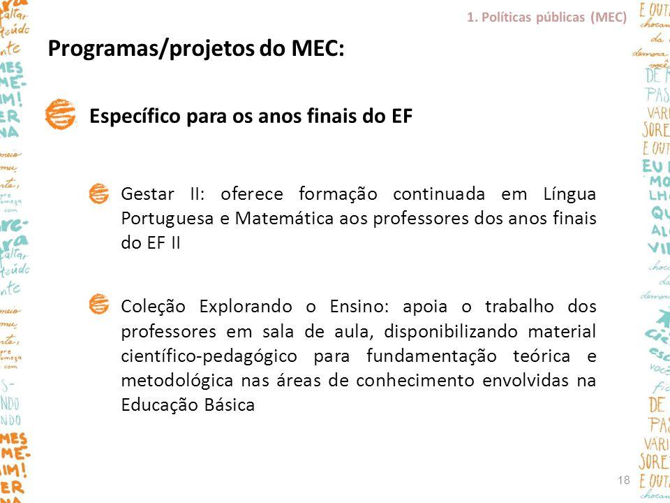 Programas/projetos do MEC: Específico para os anos finais do EF Gestar II: oferece formação continuada em Língua Portuguesa e Matemática aos professor