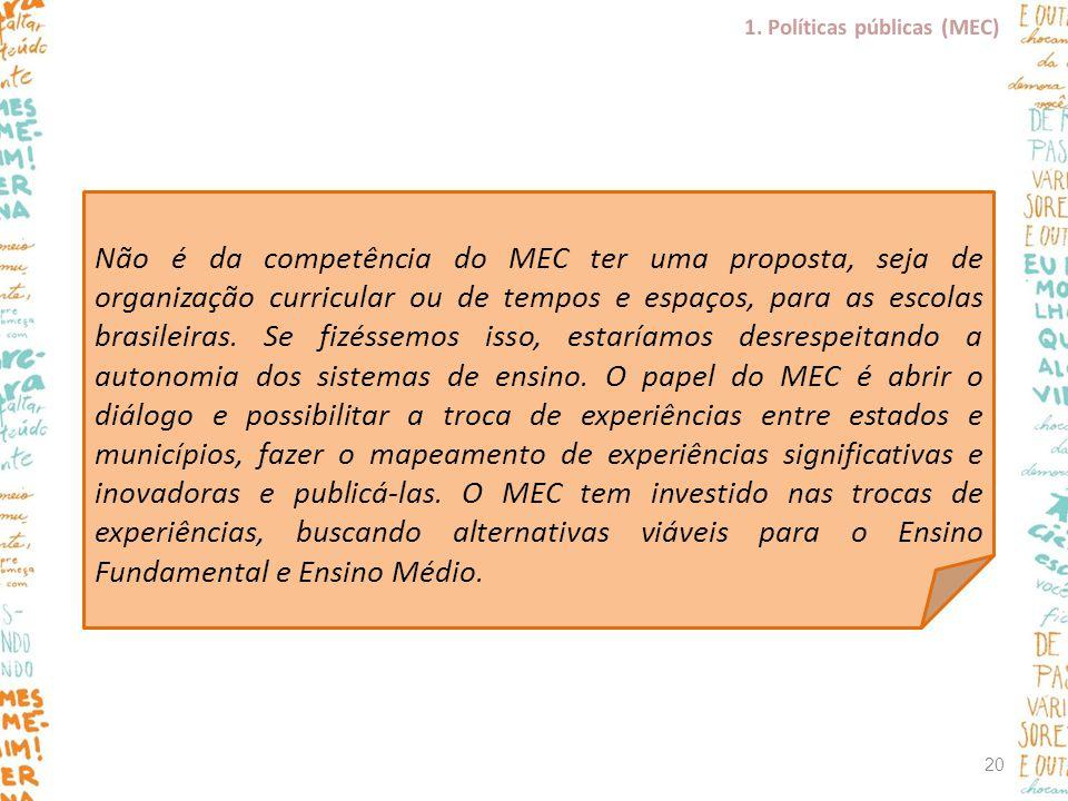 Não é da competência do MEC ter uma proposta, seja de organização curricular ou de tempos e espaços, para as escolas brasileiras. Se fizéssemos isso,