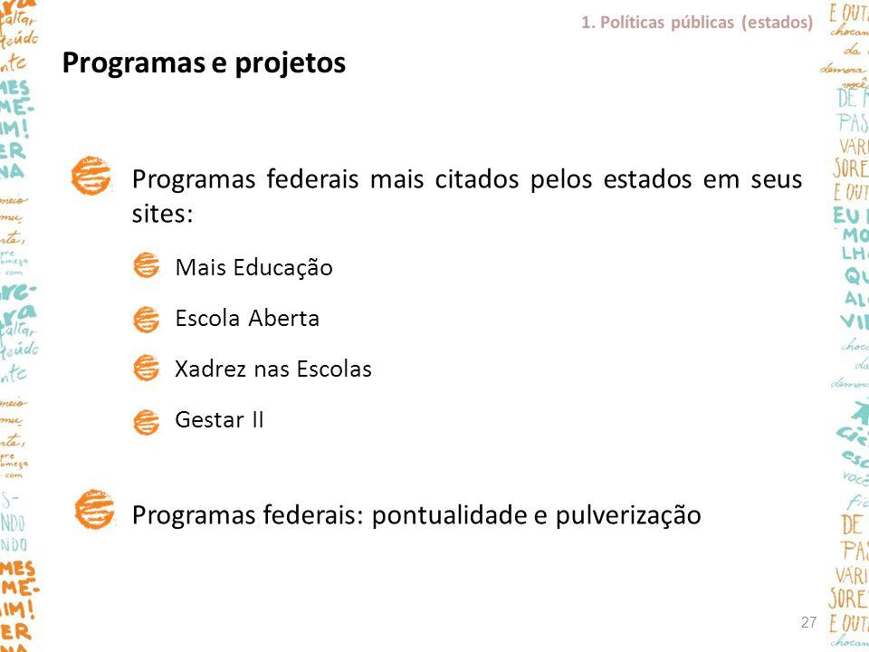 Programas e projetos Programas federais mais citados pelos estados em seus sites: Mais Educação Escola Aberta Xadrez nas Escolas Gestar II Programas f