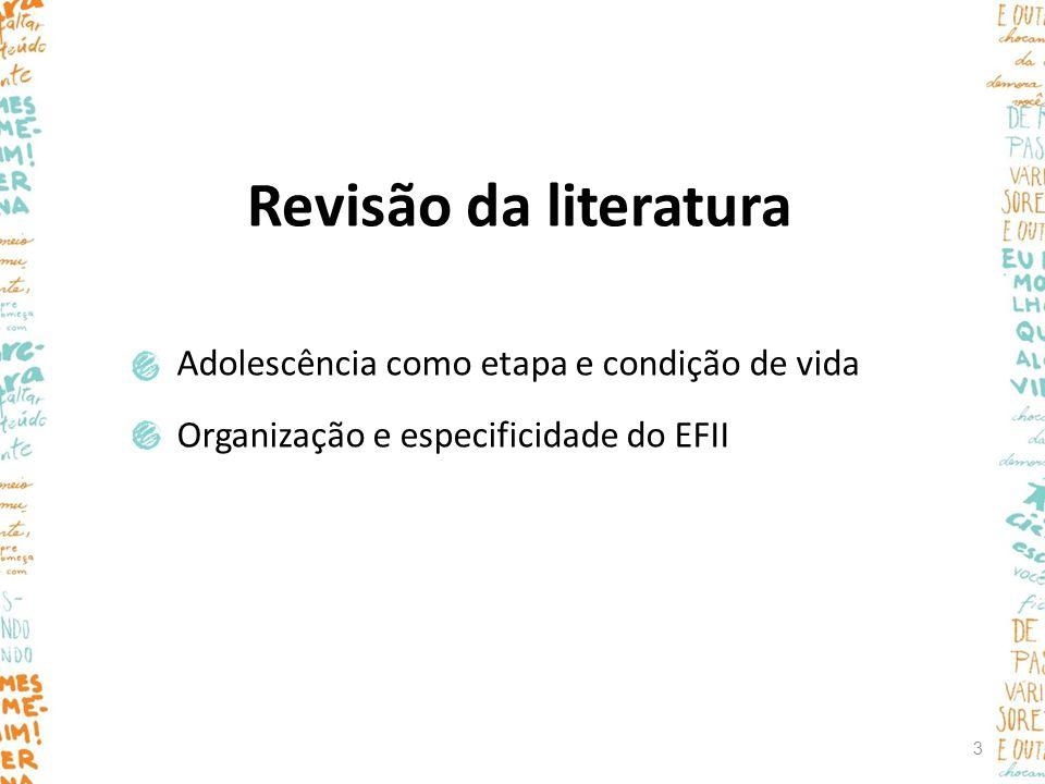 Revisão da literatura Adolescência como etapa e condição de vida Organização e especificidade do EFII 3