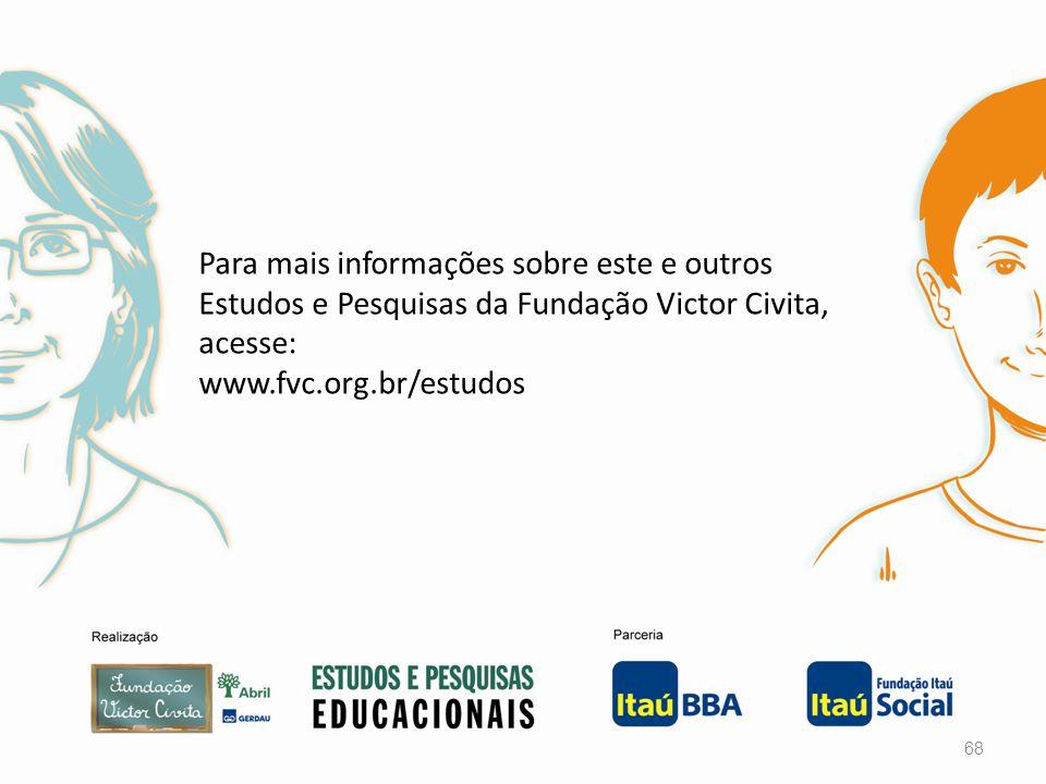 Para mais informações sobre este e outros Estudos e Pesquisas da Fundação Victor Civita, acesse: www.fvc.org.br/estudos 68