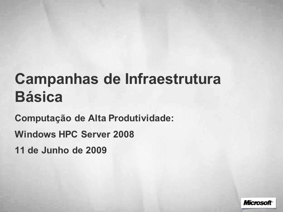Campanhas de Infraestrutura Básica Computação de Alta Produtividade: Windows HPC Server 2008 11 de Junho de 2009