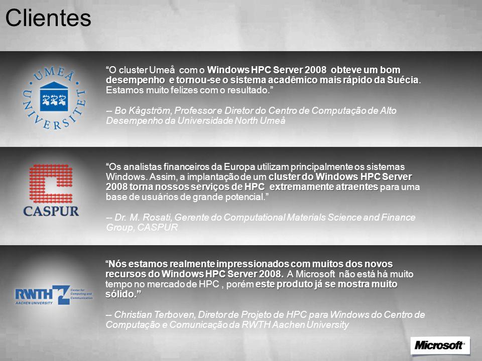 """Clientes Windows HPC Server 2008 obteve um bom desempenho e tornou-se o sistema acadêmico mais rápido da Suécia """"O cluster Umeå com o Windows HPC Serv"""
