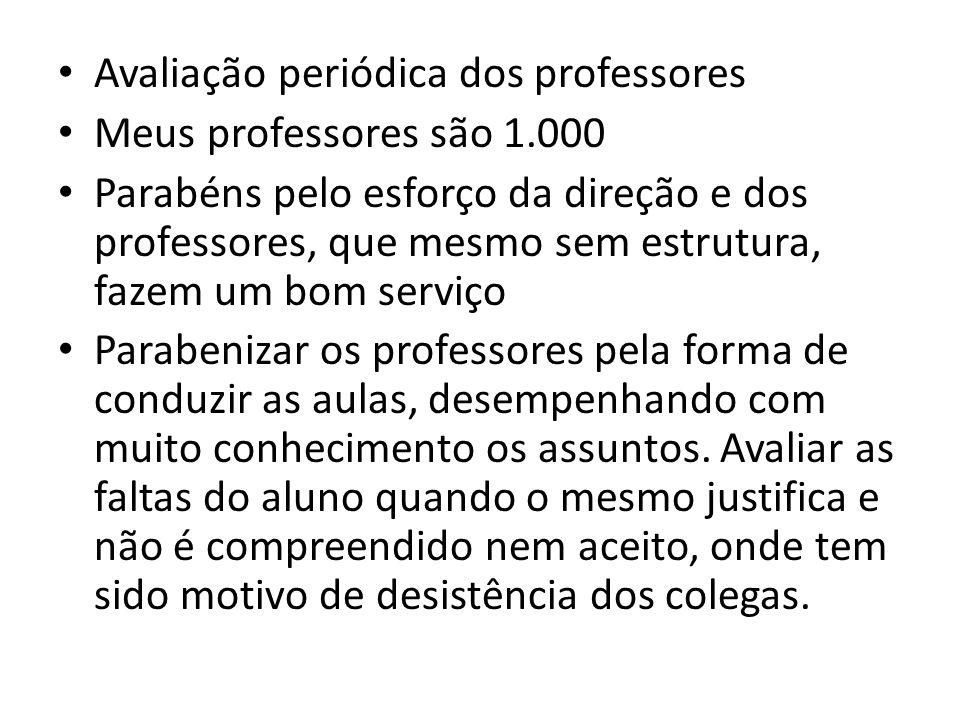 • Avaliação periódica dos professores • Meus professores são 1.000 • Parabéns pelo esforço da direção e dos professores, que mesmo sem estrutura, faze