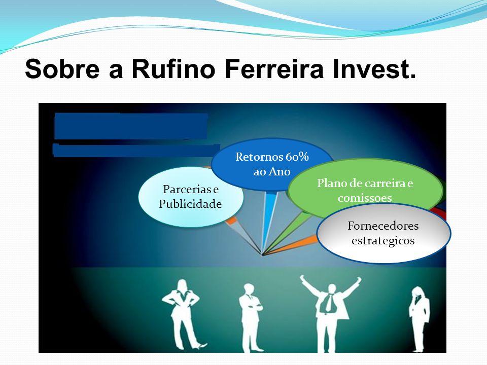 Sobre a Rufino Ferreira Invest. Parcerias e Publicidade Retornos 60% ao Ano Plano de carreira e comissoes Fornecedores estrategicos