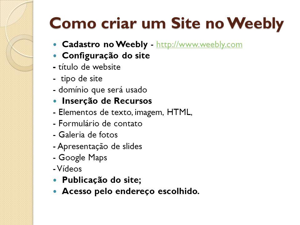 Como criar um Site no Weebly  Cadastro no Weebly - http://www.weebly.comhttp://www.weebly.com  Configuração do site - título de website - tipo de site - domínio que será usado  Inserção de Recursos - Elementos de texto, imagem, HTML, - Formulário de contato - Galeria de fotos - Apresentação de slides - Google Maps - Vídeos  Publicação do site;  Acesso pelo endereço escolhido.