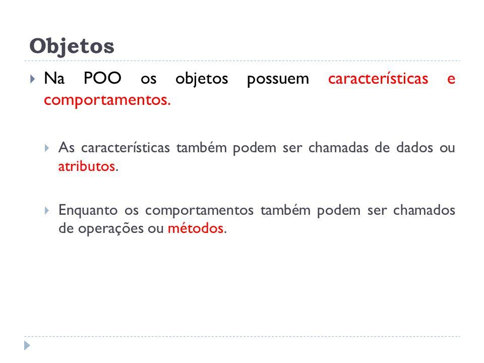 Objetos  Na POO os objetos possuem características e comportamentos.  As características também podem ser chamadas de dados ou atributos.  Enquanto