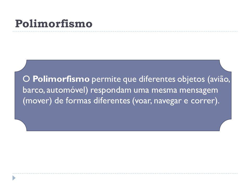 Polimorfismo  O Polimorfismo permite que diferentes objetos (avião, barco, automóvel) respondam uma mesma mensagem (mover) de formas diferentes (voar